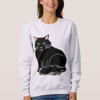 Black Fluffy Cat Women's Sweatshirt