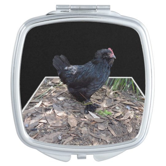 Black_Fluffy_Rooster,_Ladies_Beauty_Compact_Mirror Travel Mirror