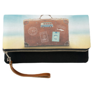 Black Fold-Over Clutch with travel motive