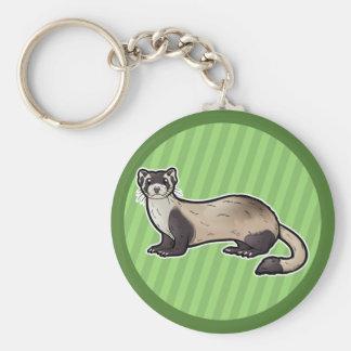 Black Footed Ferret Basic Round Button Keychain