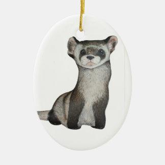 Black footed ferret ceramic ornament
