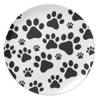 Black Footprint dogs Plate