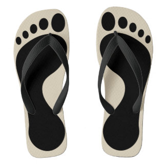 Black Footprint Tan Beach Pool Flip Flops