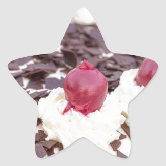 Black Forest cake in detail with white background Star Sticker