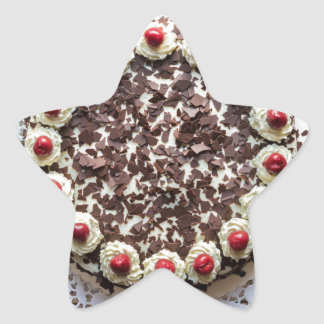 Black Forest cake on rustic wood Star Sticker