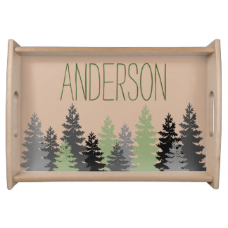 Black Forest Woods Pine Tree Custom Name Serving Tray