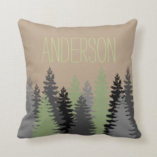 Black Forest Woods Pine Tree Custom Name Throw Pillow
