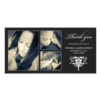 BLACK FORMAL COLLAGE | WEDDING THANK YOU CARD PICTURE CARD