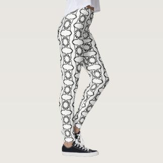 Black Four Hearts Flower Pattern Leggings