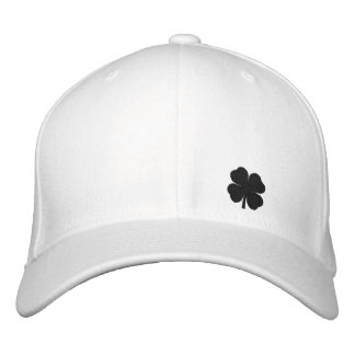 Black  Four Leaf Clover St. Patricks Day Hat Baseball Cap