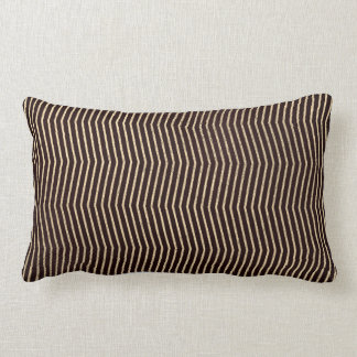 Black Foxier  Graphite Metal Chevron Stripes Lines Lumbar Pillow