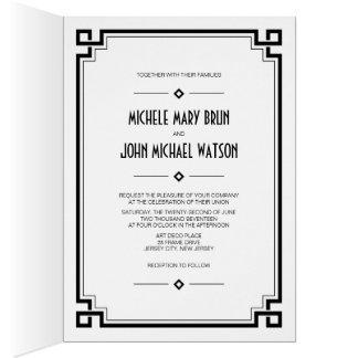 Black Frame Art Deco Photo Wedding Fold Invite