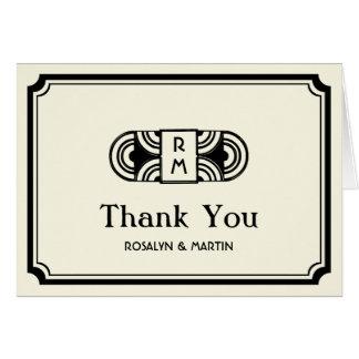 Black frame art deco retro monogram thank you card