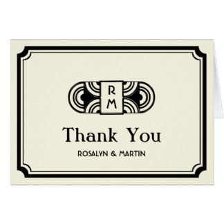 Black frame art deco retro monogram thank you greeting card