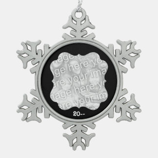 Black frame photo pewter snowflake ornament