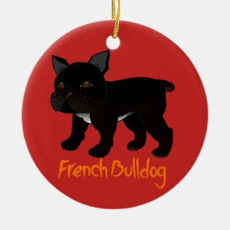 Black French Bulldog Ceramic Ornament
