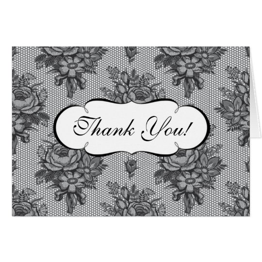 Black French Lace Thank You Note Card