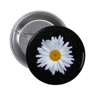 Black French Script & Daisy-  Button