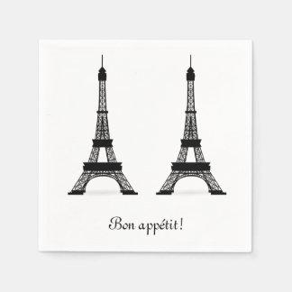 Black French Theme Eiffel Towers Bon Appetit Paper Napkins