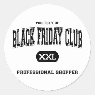 Black Friday Club Professional Shopper Classic Round Sticker