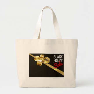 Black Friday Sale Gold Ribbon Gift Bow Design Large Tote Bag