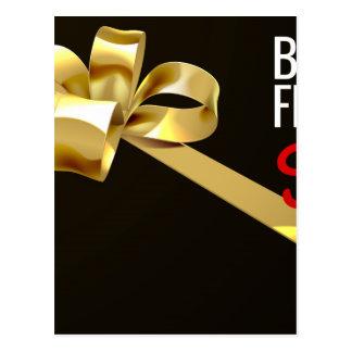 Black Friday Sale Gold Ribbon Gift Bow Design Postcard
