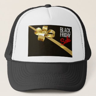 Black Friday Sale Gold Ribbon Gift Bow Design Trucker Hat