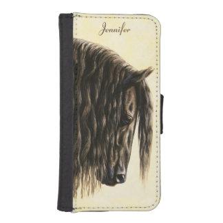 Black Friesian Draft Horse Phone Wallet Cases