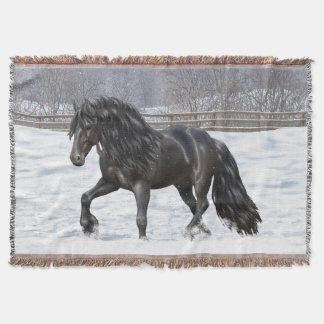 Black Friesian Draft Horse Throw Blanket