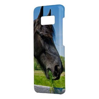 black Friesian horse eating grass Case-Mate Samsung Galaxy S8 Case