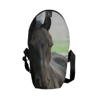 Black Friesian Horse Courier Bags