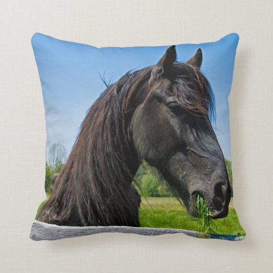 black Friesian horse Throw Pillow