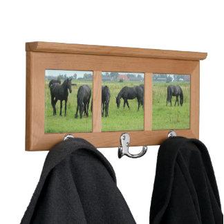 Black Friesian Horses Coat Racks