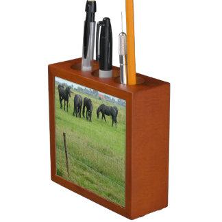 Black Friesian Horses in Meadow Pencil Holder