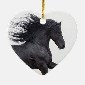 Black Friesian Runs Horse Christmas Ornament
