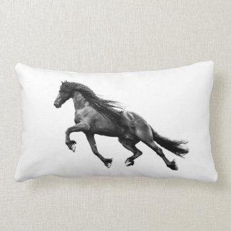 Black friesian stallion - friese horse pillow