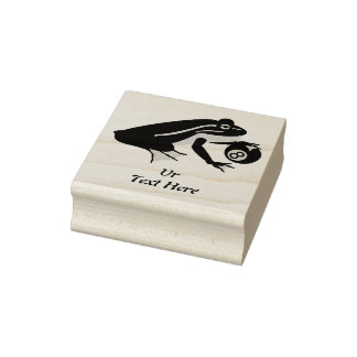 Black Frog Palming an Eight Ball Rubber Stamp