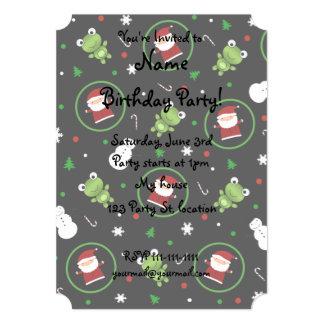 "Black frogs santa claus snowmen 5"" x 7"" invitation card"