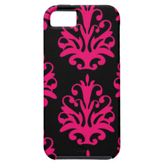 Black Fuchsia Pink Bold Damask Pattern iPhone 5 Covers
