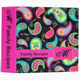 Black Fuchsia Pink Modern Paisley Pattern Monogram Vinyl Binders