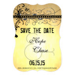 Black Funky Elegant Swirls Wedding Save the Date Invites