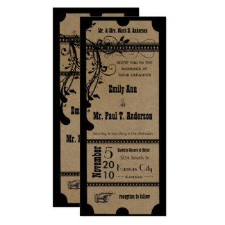 "Black Funky Textured Playbill Swirls Wedding 4"" X 9.25"" Invitation Card"