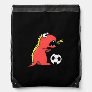 Black Funny Cartoon Dinosaur Soccer Drawstring Bag