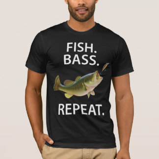 Black Funny Fishing Shirts With Bass