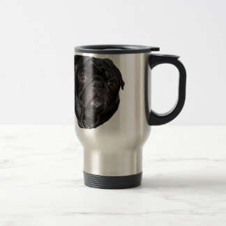 Black Funny Pug Travel Mug