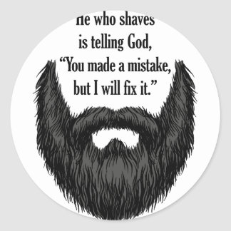 Black fuzzy beard round sticker