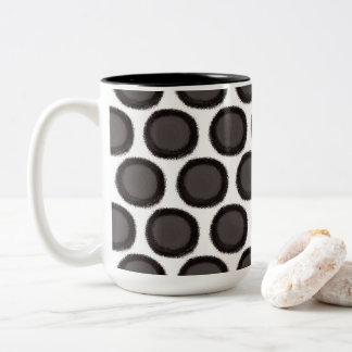 Black Fuzzy Dots Two-Tone Coffee Mug