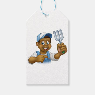 Black Gardener Cartoon Character Pack Of Gift Tags