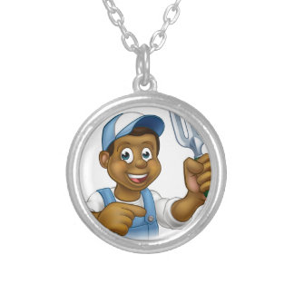 Black Gardener Cartoon Character Silver Plated Necklace