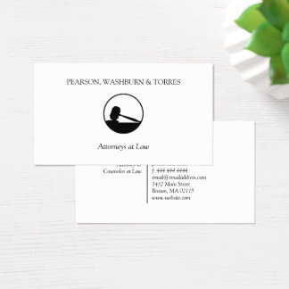Black Gavel Icon Attorney at Law Business Card